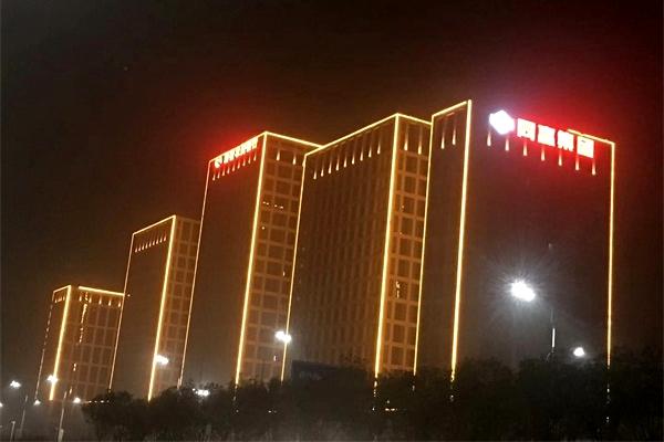 郑州同赢企业总部港商业楼亮化工程效果
