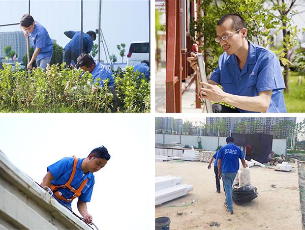 山西省怀仁市生态园景观亮化工程施工现场