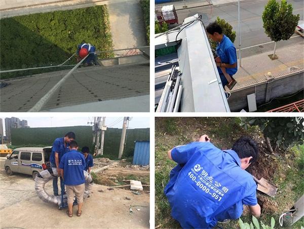 南阳市淮河党群服务中心亮化施工现场