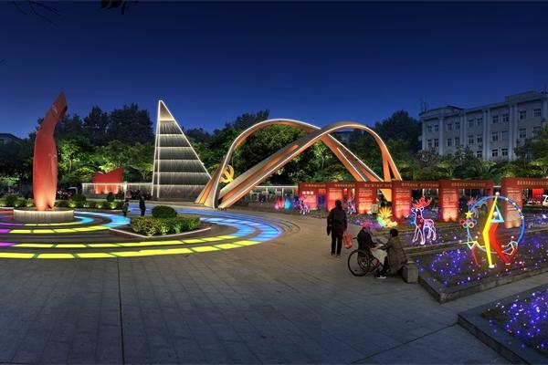 休闲娱乐广场夜景亮化体现城市精神风貌